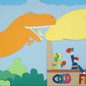 L'animazione del fruttivendolo che incontra il Dinosauro Mauro è opera di Miriam incontrata nel reparto di Ortopedia